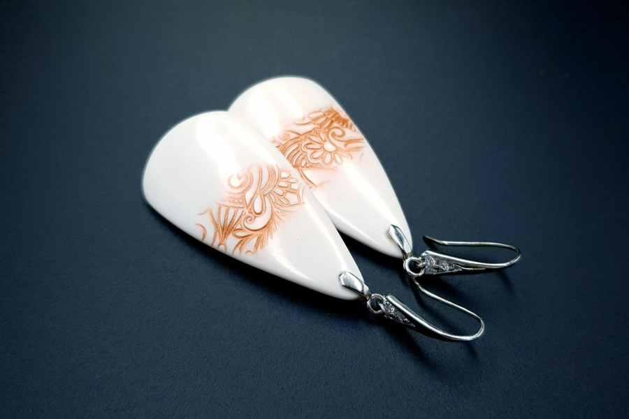 Peach Lace Earrings 05