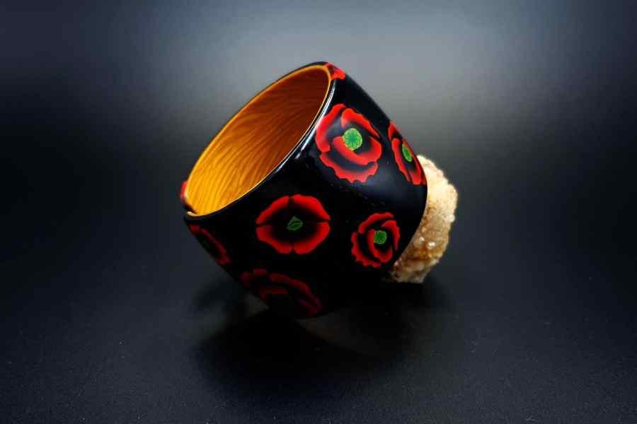 Product Poppy Flowers Bracelet Cuff 03