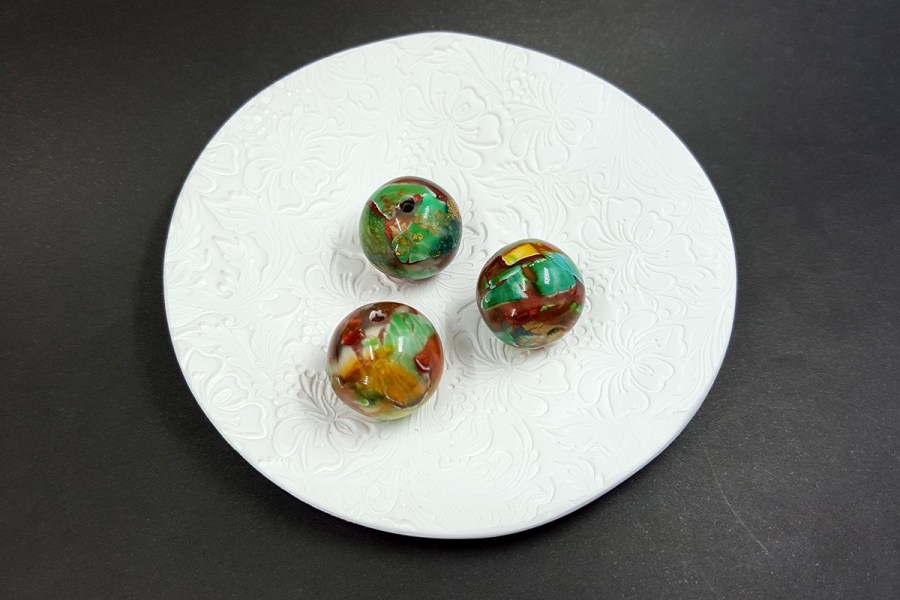 3 pcs Handmade Beads from Polymer Clay p01
