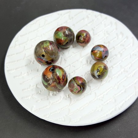 7 Round Beads from Polymer Clay Brown, Green, Silver