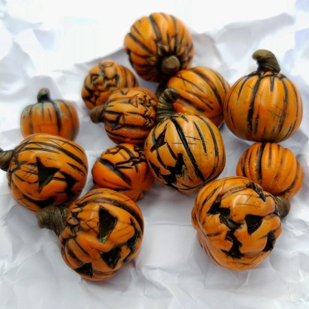Set of 12 halloween beads from polymer clay