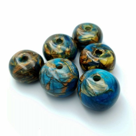Set of 6 Faux Labradorite beads from polymer clay