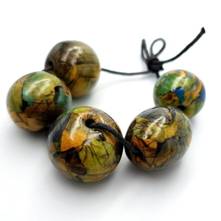 Set of 5 Faux Labradorite beads from polymer clay