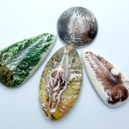 Set of 4 cabochons Faux Dendritic Agate, Polymer Clay