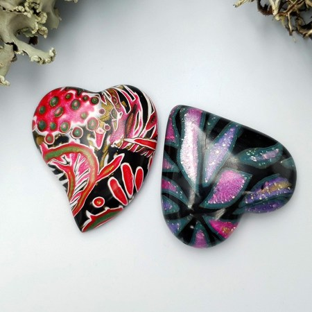 2 pcs Heart Cabochone from Polymer Clay