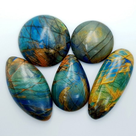 5 cabochons Faux Labradorite Stone from Polymer Clay