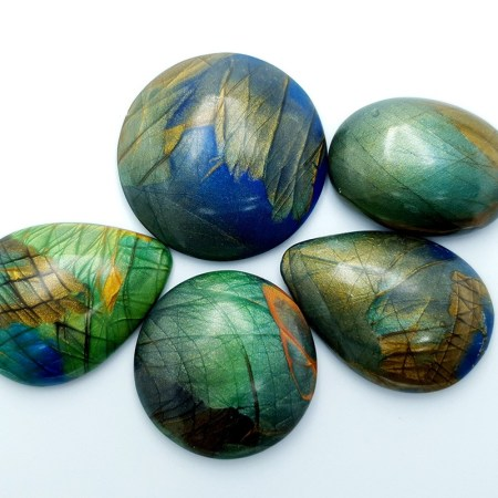 5 cabochons Faux Labradorite Stone from Polymer Clay #28