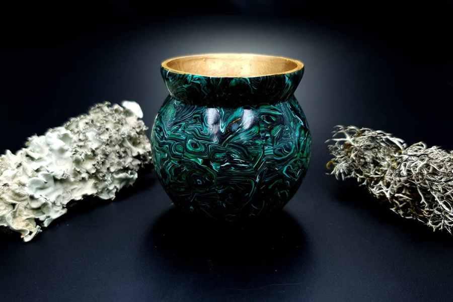 Faux Malachite Stone Vase 20191012_212221