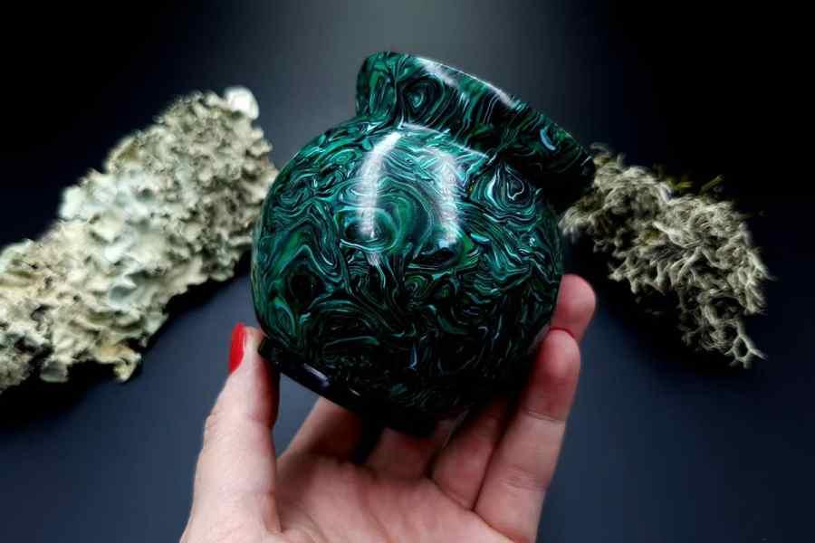 Faux Malachite Stone Vase 20191012_212348