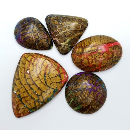 Faux Opalized Wood Stone 5 cabochons from Polymer Clay