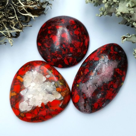 3 pcs Beads Faux Red Jasper from Polymer Clay (Set #2)