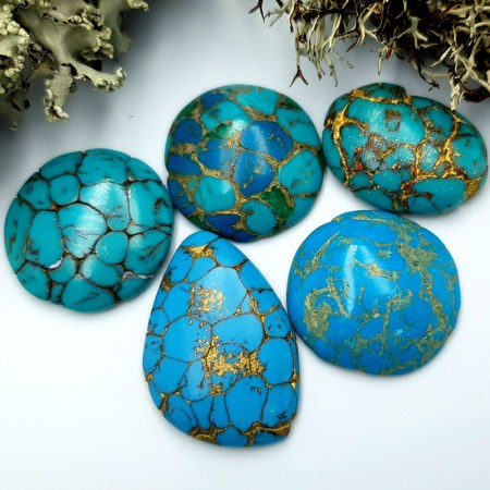 5 Cabochones Faux Turquoice from Polymer Clay #1