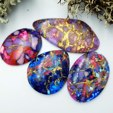 4 cabochones faux turquoice from polymer clay #4