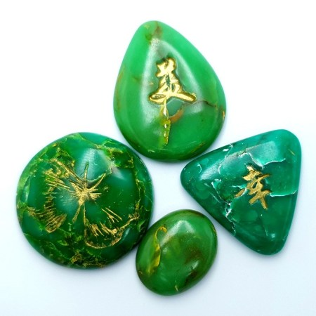 Set of 4 cabochons Faux Jade Stone from Polymer Clay