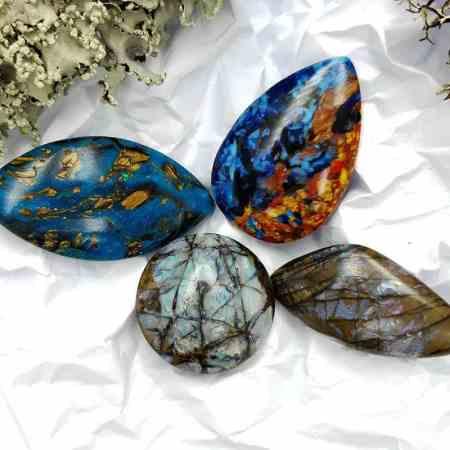 4 pcs Labradorite Pietersite Stone Mix (Set #1)
