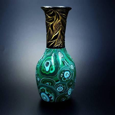 Malachite Vase from Polymer Clay