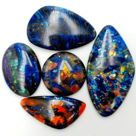 5 pcs Faux Opal in Mix Style from Polymer Clay (Set #5)