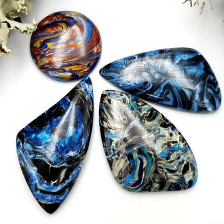 4 pcs Faux Pietersite Stones from Polymer Clay (Set #9)