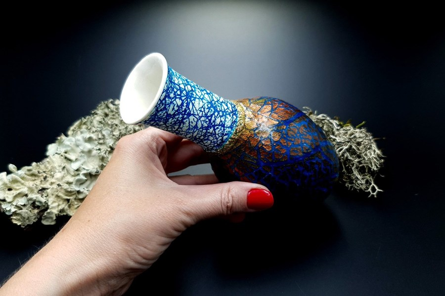 Polymer Clay Vase Raku Style 20191012_212701