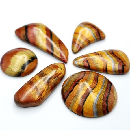6 pcs Faux Tiger Eye Stones from Polymer Clay