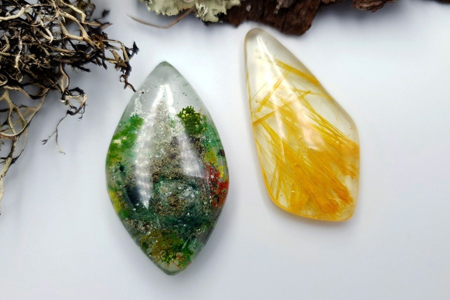 UV Resin Faux Moss Agate Faux Rutilated Quartz Set 02 p02