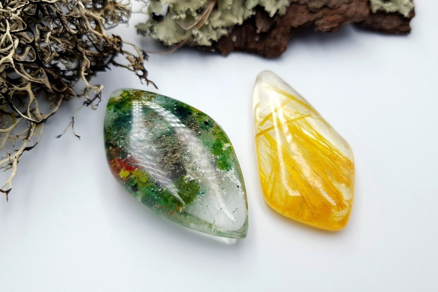 UV Resin Faux Moss Agate Faux Rutilated Quartz Set 02 p03