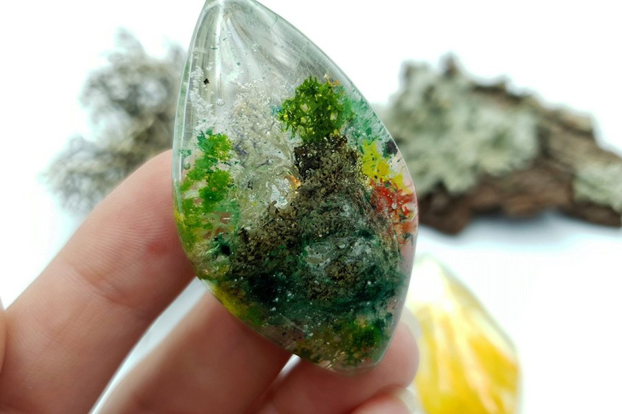 UV Resin Faux Moss Agate Faux Rutilated Quartz Set 02 p07