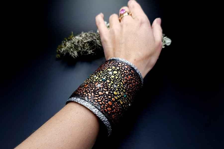 Wide Bracelet Cuff River Stones img09