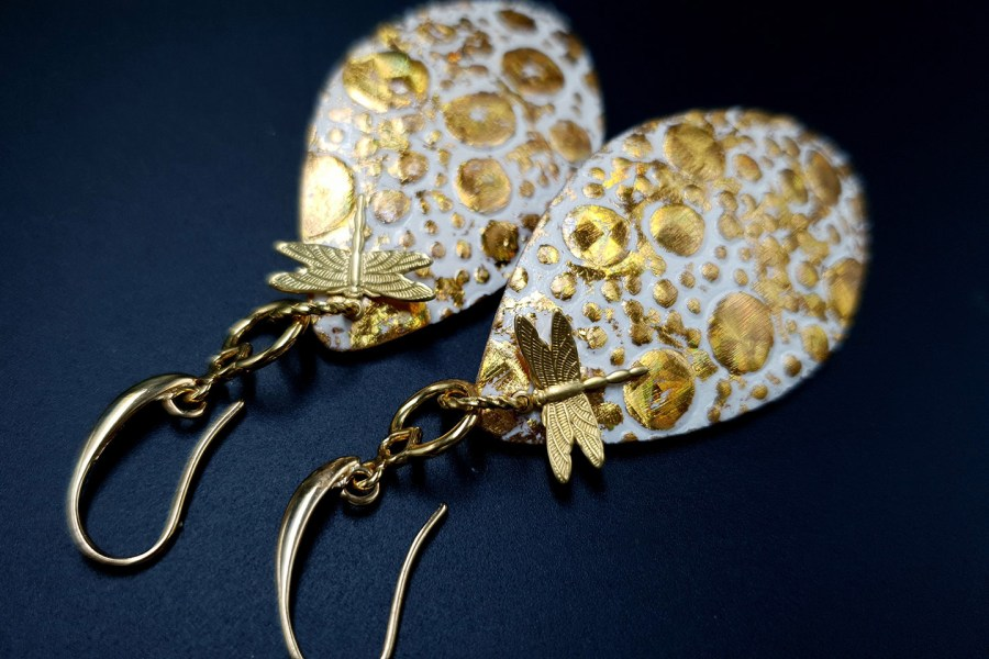 Earrings Golden Dragonfly and Sun 2