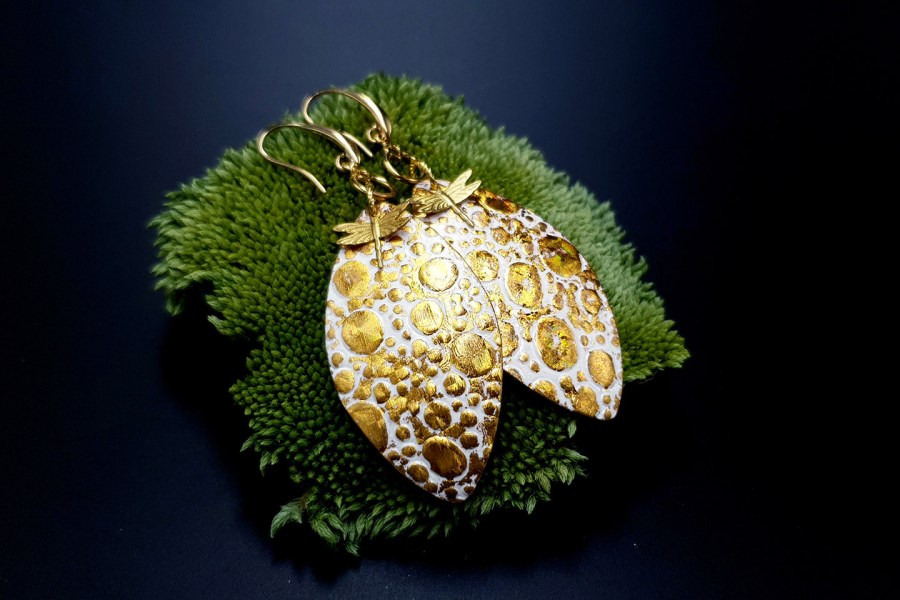 Earrings Golden Dragonfly and Sun 1