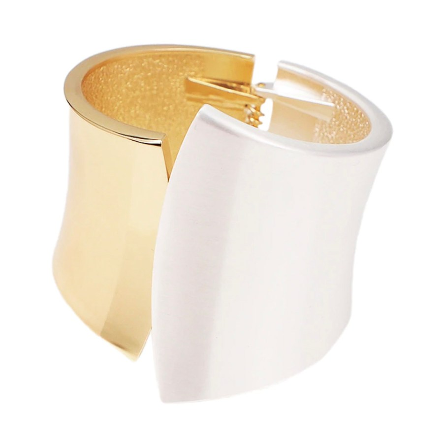 Metal base double side bracelet in Golden-Silver color 1