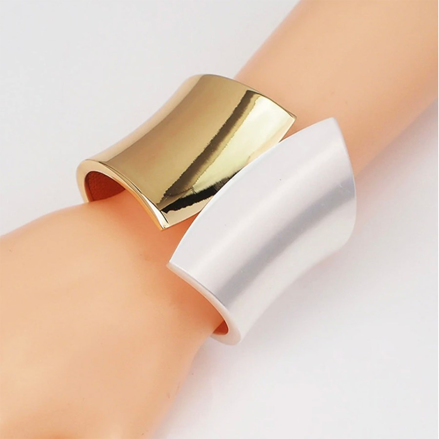 Metal base double side bracelet in Golden-Silver color 3