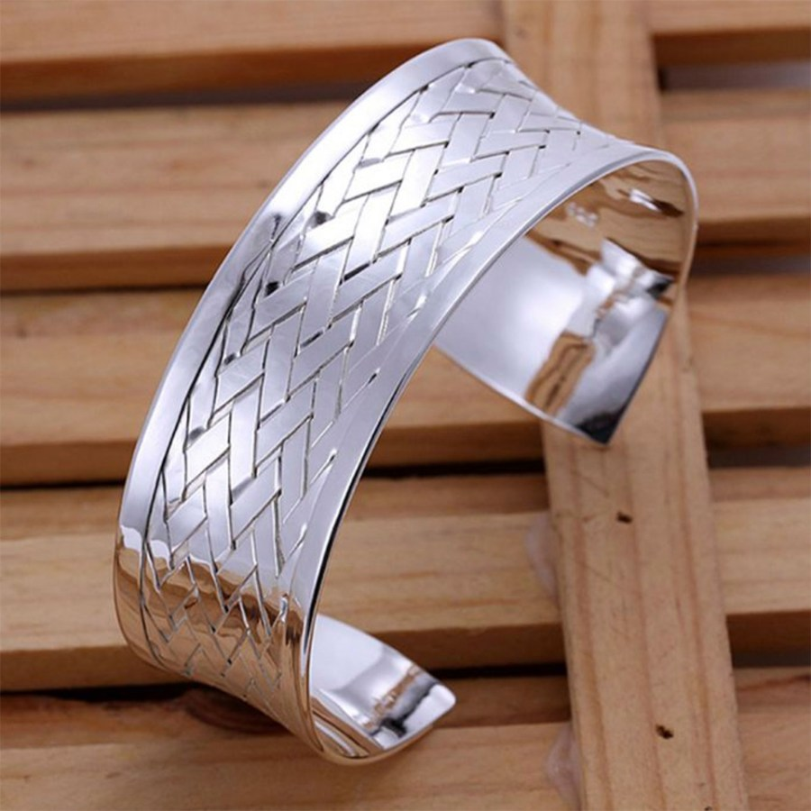 Silver plated wide bangle base bracelet cuff 1