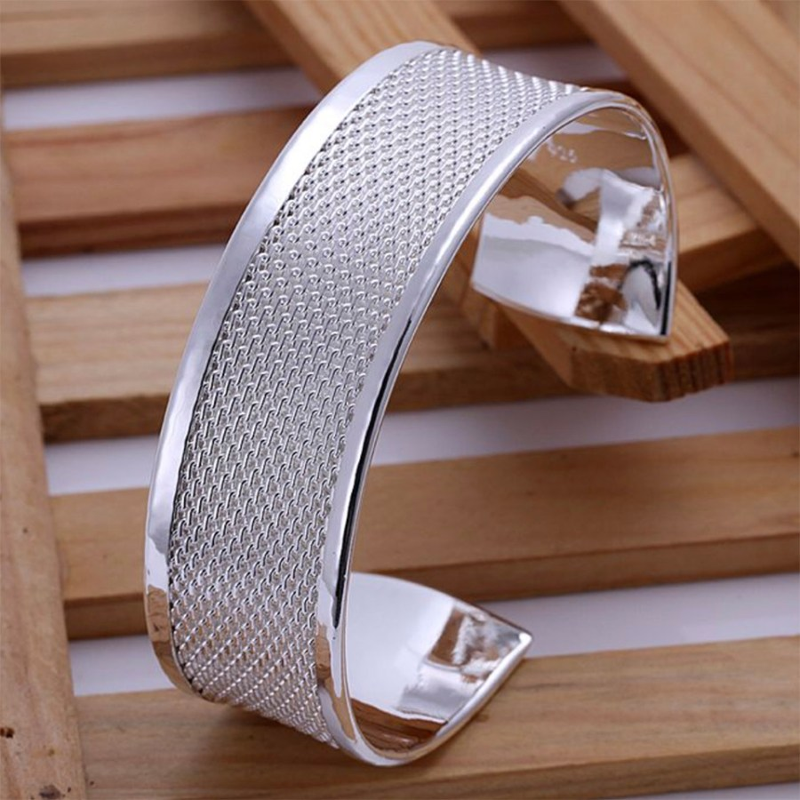 Metal silver plated wide bangle base bracelet cuff 1