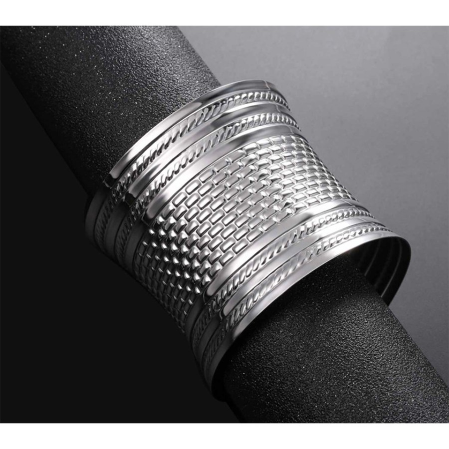 Metal silver color textured shape tool for baking bracelets 3