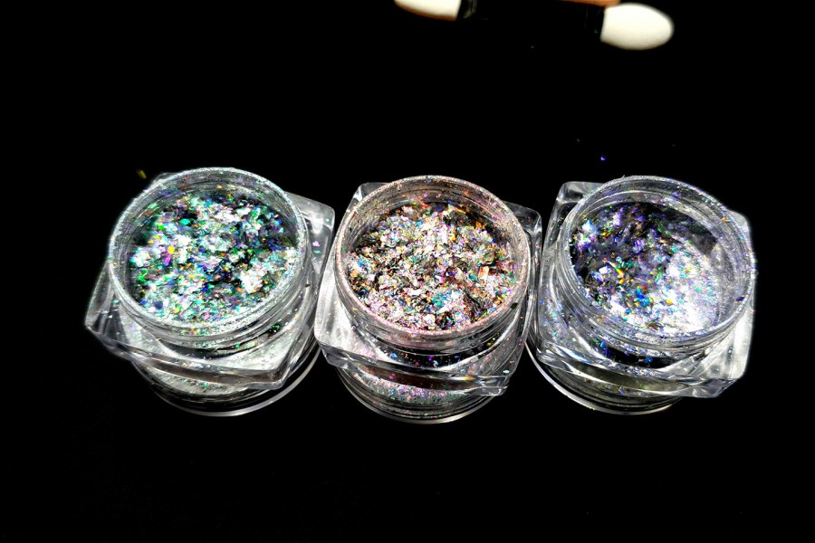 Set of 3 colors Aurora Chameleon Flakes - Art Glitter Powder 1