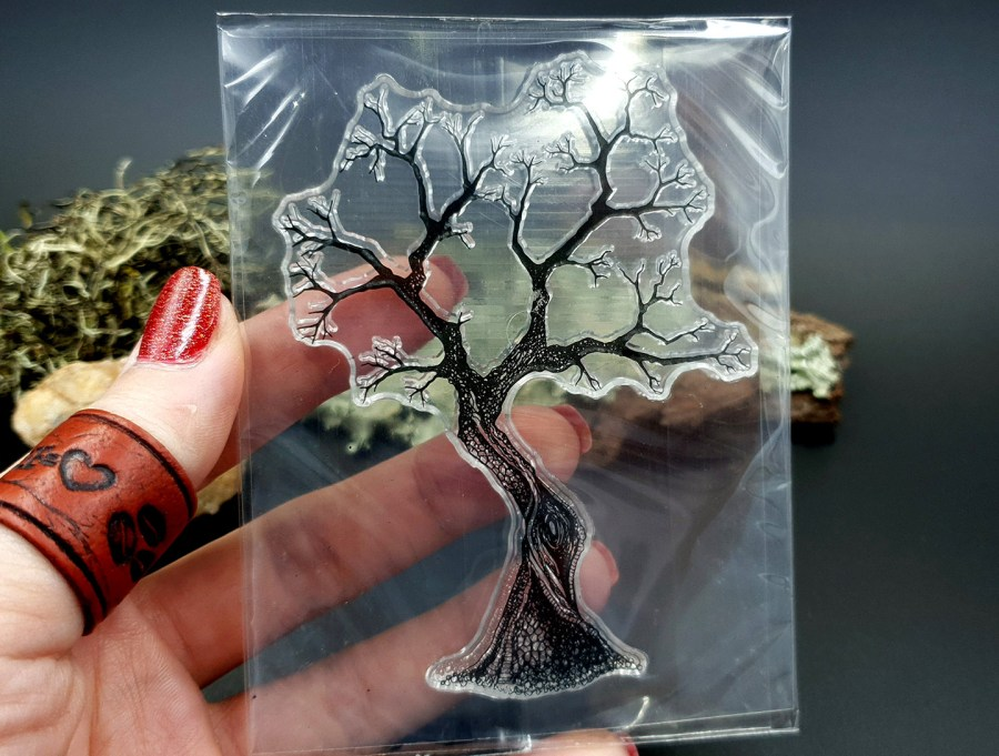 "Clear Silicone Stamp ""A Tree"" for Polymer Clay 6"