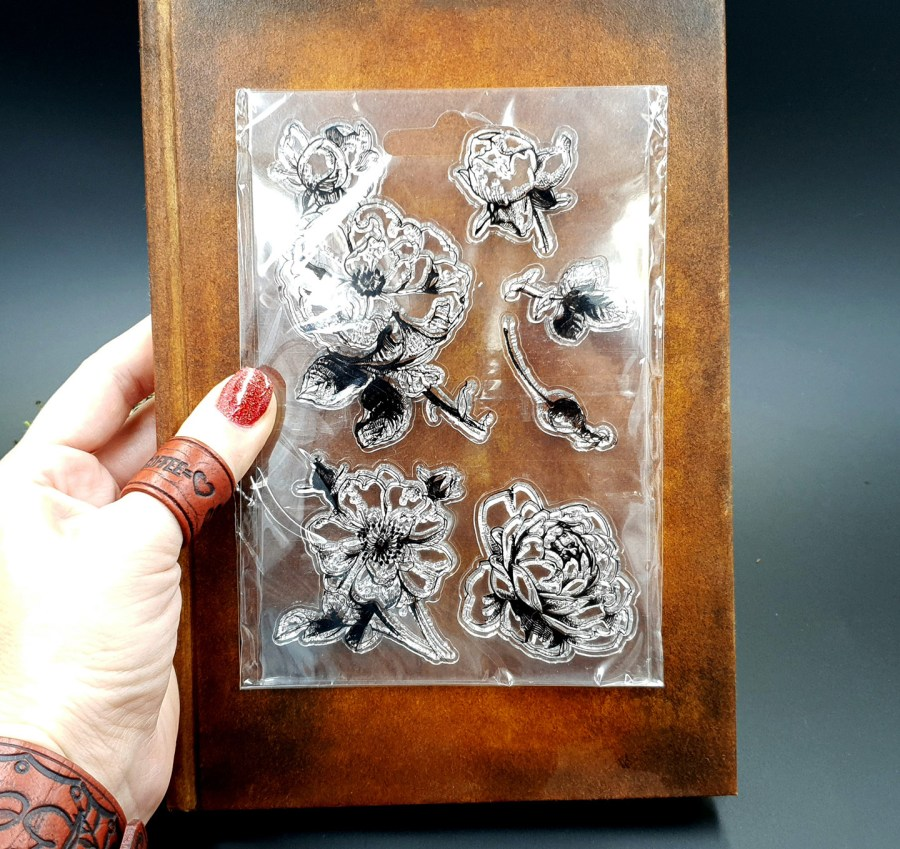 "Clear Silicone Stamp ""Flowers"" for Polymer Clay 2"