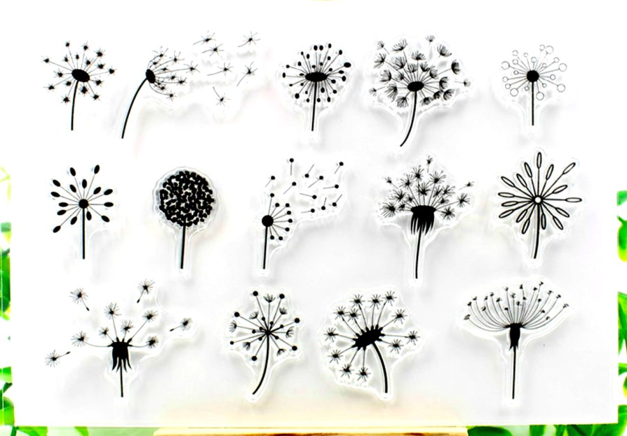 "Clear Silicone Stamp ""Dandelions"" 6"