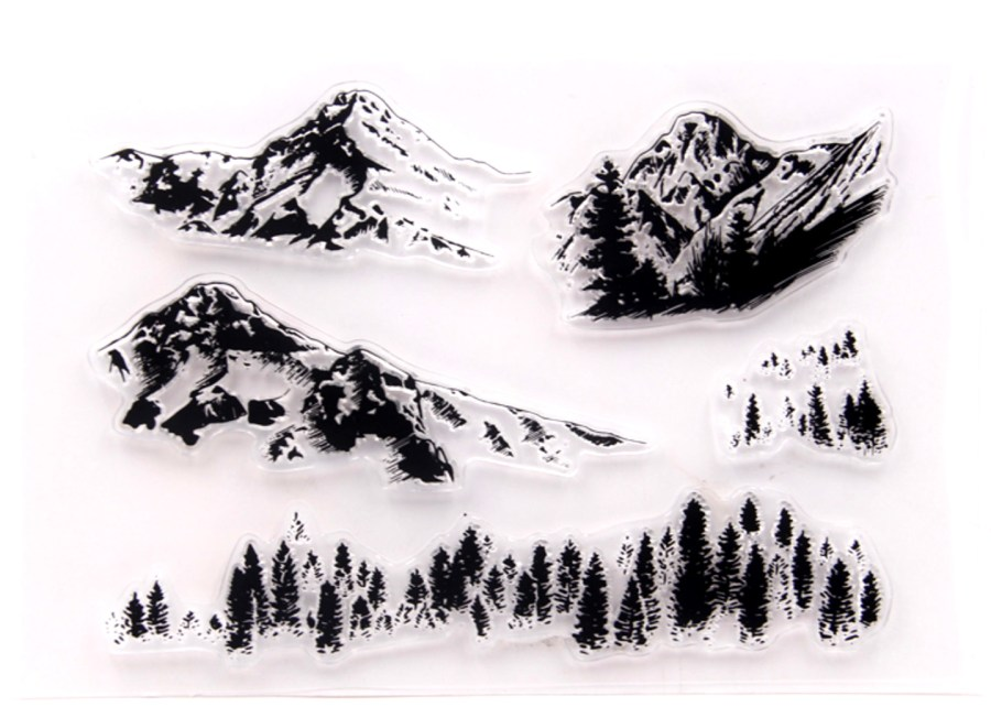 "Clear Silicone Stamp ""Mountains"" 5"