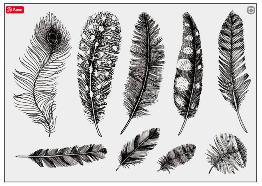 "Clear Silicone Stamp ""Large Feathers"" for Polymer Clay 4"