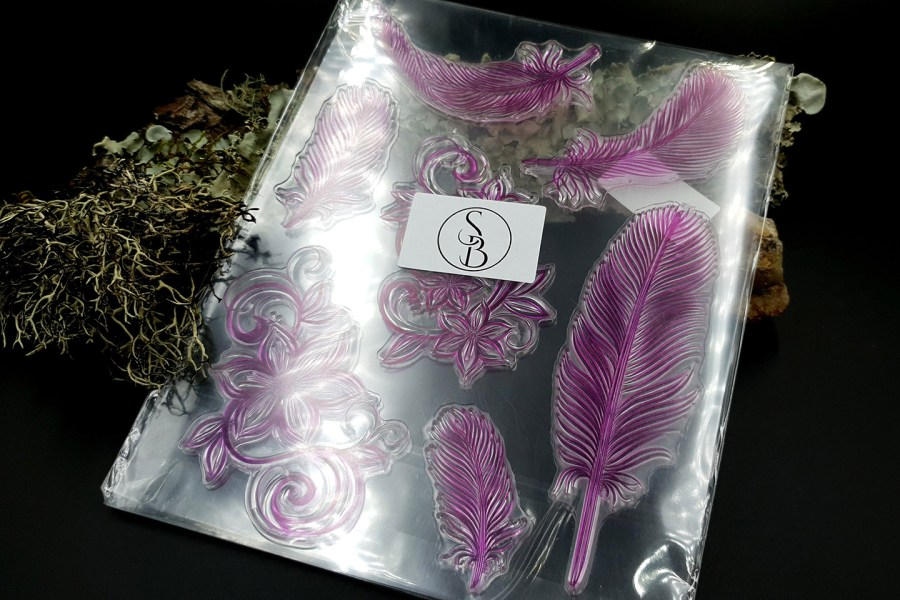 "Clear Silicone Stamp ""Feathers"" for Polymer Clay 4"