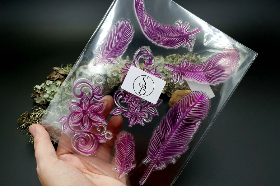 "Clear Silicone Stamp ""Feathers"" for Polymer Clay 2"