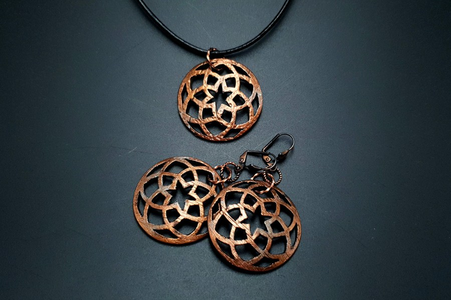 Faux Metal Earrings And Pendant 1