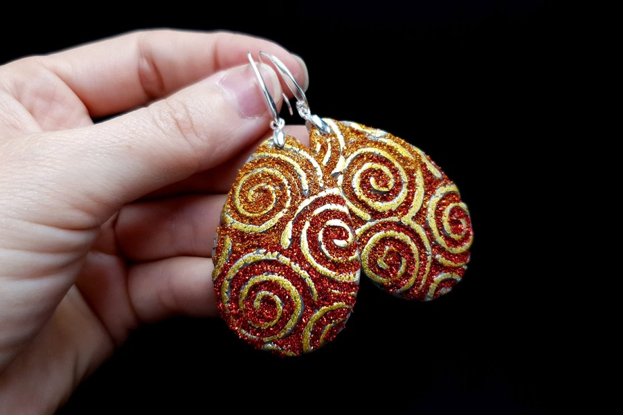 Golden Red Earrings 8