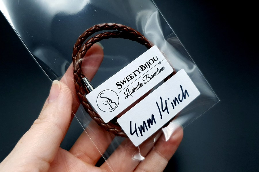 Brown Leather Cord, 14inches/35cm 3