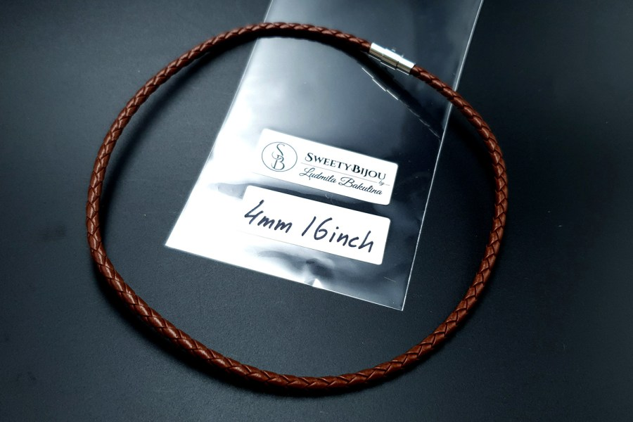 Brown Leather Cord, 16inches/40cm 5