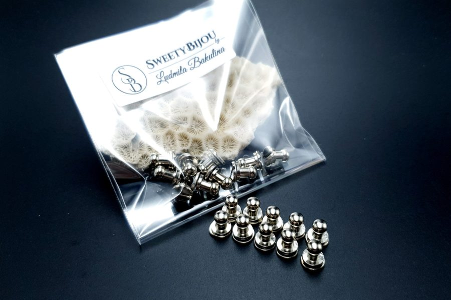 Silver Closers Screw Nail Rivet, 10pcs 6