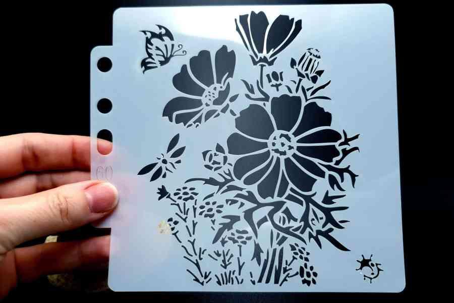 """Set of 4 pcs """"Floral"""" Plastic Stencils 5"""
