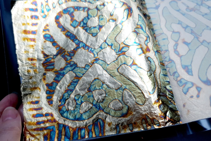 Blue-Gold Copper Metal Leafs (10pcs 14x14cm)